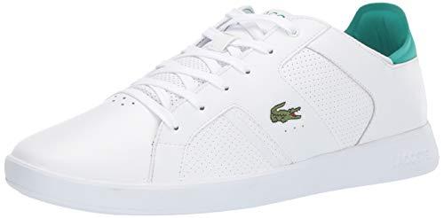 Lacoste Men's Novas Sneaker, white/green, 10 Medium US (Lacoste White Sneakers)