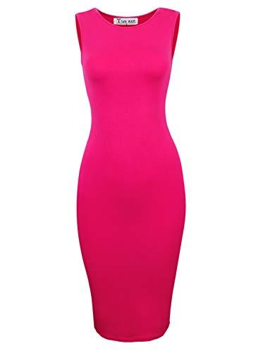 - TAM WARE Women's Classic Slim Fit Sleeveless Midi Dress TWCWD051-HOTPINK-US S/M(Tag Size M)