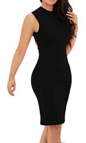 I Womens Clubwear Puri Magro Nero Midi Tagliato Cromoncent Bodycon Vestiti Colore IgwqBg