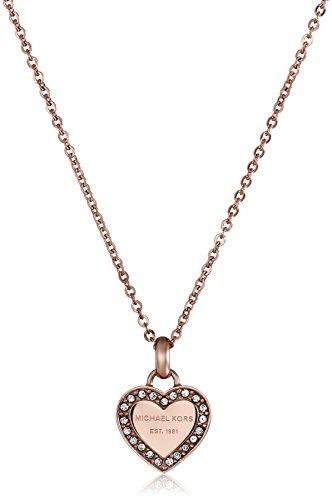 Michael Kors Rose Gold Tone Logo Heart Pendant (Logo Heart)