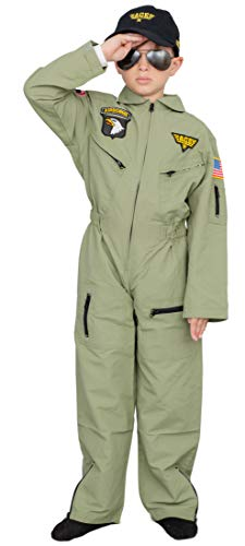 Air Force Pilot Child Halloween Costume Jumpsuit Set (10/12)