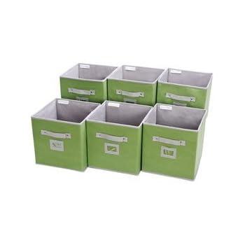 Storage Cube Box, Fabric Storage Bin By StorageWorks, Green, Medium, 6