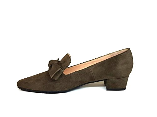 GENNIA ROCAZO - Women´s Leather Loafers Mocassin Flats with Bow Leather Suede A-002 Olive Green (Khaki) IVw0GKY0bc