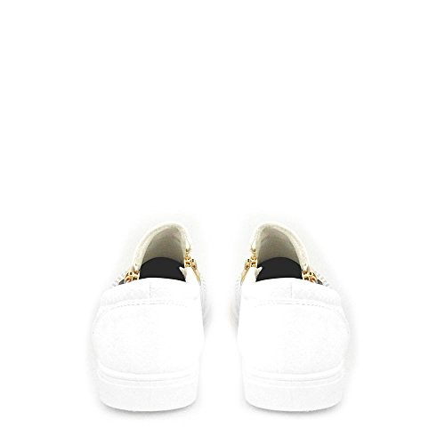 Detail Zips Slip On Skater Ladies Pump Women Sona Diamante Side White Flat 4xAYCqn