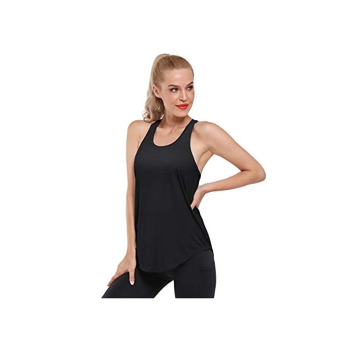 31Swm1Jt7dL Camiseta sin mangas ultra suave y cómoda: hecha de tela súper suave y elástica (80% nailon + 30% spandex), liviana, transpirable y de secado rápido, perfecta para ropa deportiva y uso diario. Absorbe la humedad y de secado rápido: diseñado para eliminar la humedad de su cuerpo y proporcionar la máxima comodidad; mejorar su rendimiento de yoga / carrera / entrenamiento. 80% Nailon, 20% Elastano