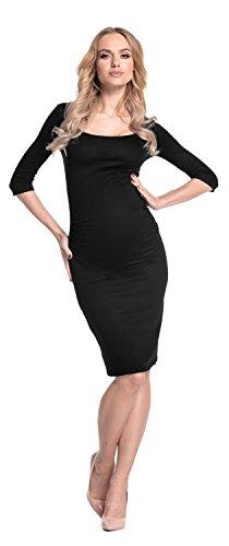 Happy Mama - Vestido de premamá, cintura fruncida, elástico, 939p negro