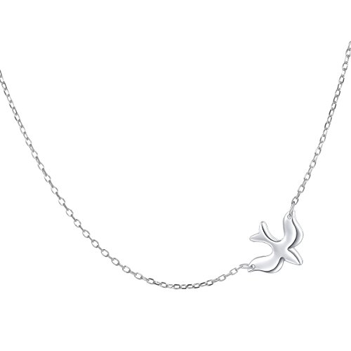 (S925 Sterling Silver Jewelry Doves Birds Faith Hope Love Choker Necklace 16+2