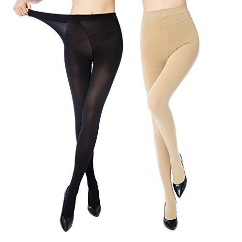 MANZI 2 Pairs Women's Control Top Plus Size Pantyhose High Waist Opaque Tights ()
