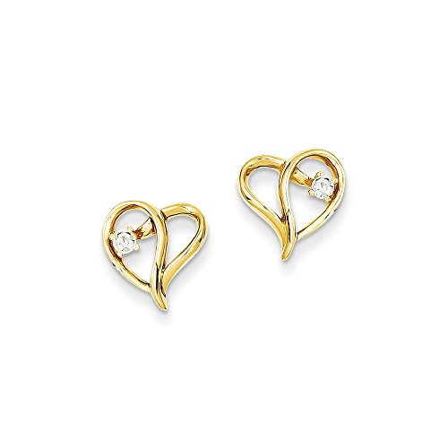 Aa Earring Diamond Heart (14k AA Diamond Heart Earrings Diamond quality AA (I1 clarity, G-I color))