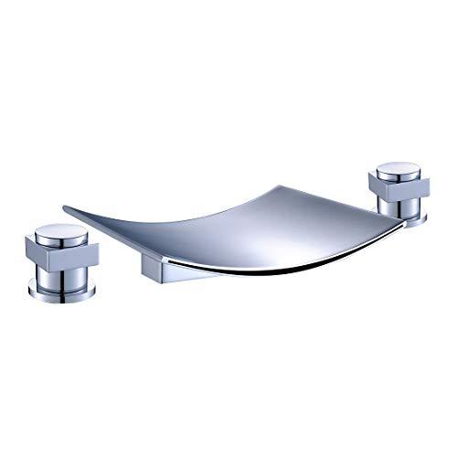 Chrome Roman Tub Bathroom Faucet - FLG Deck Mount Two Handle Widespread Waterfall Bathroom Bath Tub Faucet Chrome 7.5 inch Spout