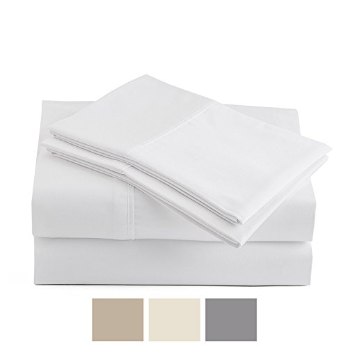 Peru Pima - Temperature Regulating Sheets - 600 Thread Count - 100% Peruvian Pima Cotton - Sateen - Bed Sheet Set - Queen, White (Bed Sheets Cotton Pima)