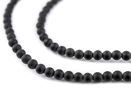 - TheBeadChest Matte Round Black Onyx Beads (4mm): Organic Gemstone Round Spherical Energy Stone Healing Power for Jewelry Bracelet Mala Necklace Making