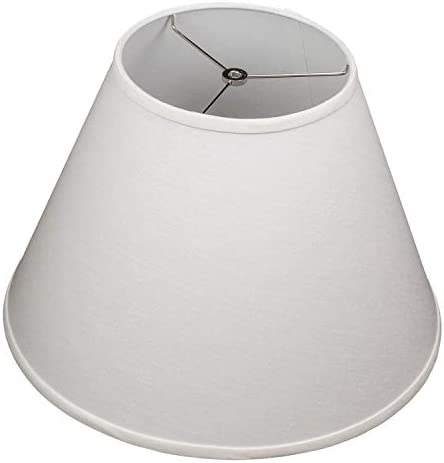 FenchelShades.com Lampshade 9 Top Diameter x 18 Bottom Diameter x 13 Slant Height with Washer Spider Attachment for Lamps with a Harp Designer Linen Off White