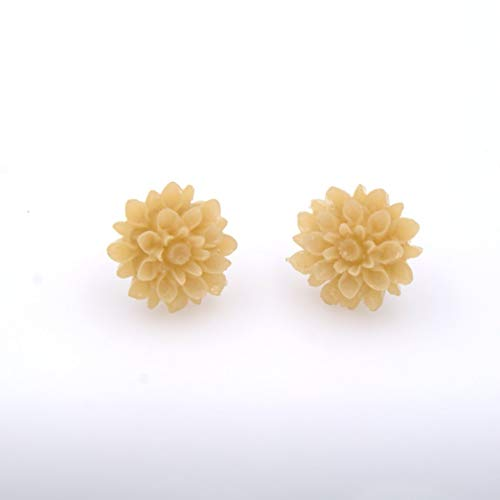 Classic Mj Flowers - Flower Stud Earring - Lucite Translucent Light Tan Chrysanthemum Flower, 16mm