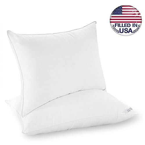 downluxe King Bed Pillows for Sleeping - Filled in USA 2 Pack Luxury Down Alternative Pillows with 100% Cotton Cover,Size 20x36