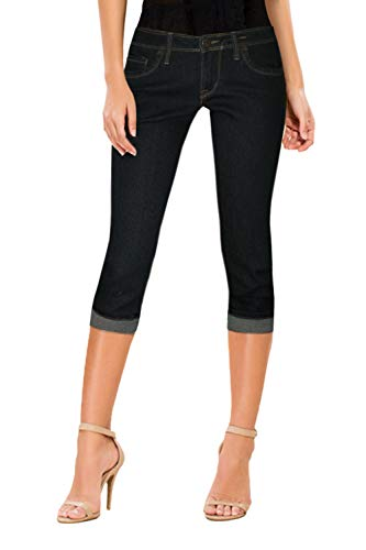 Low Rise Capri Leggings Pants - HyBrid & Company Women's Perfectly Shaping Stretchy Denim Capri-Q22881-Black-1