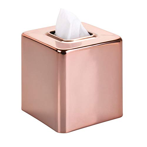 (mDesign Modern Square Metal Paper Facial Tissue Box Cover Holder for Bathroom Vanity Countertops, Bedroom Dressers, Night Stands, Desks and Tables - Rose Gold)