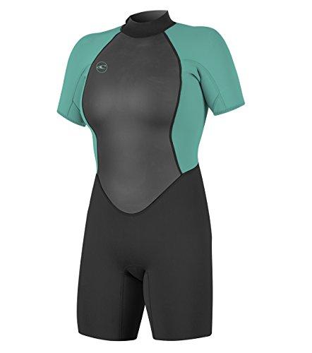 O'Neill Women's Reactor-2 2mm Back Zip Short Sleeve Spring Wetsuit, Black/Aqua, ()