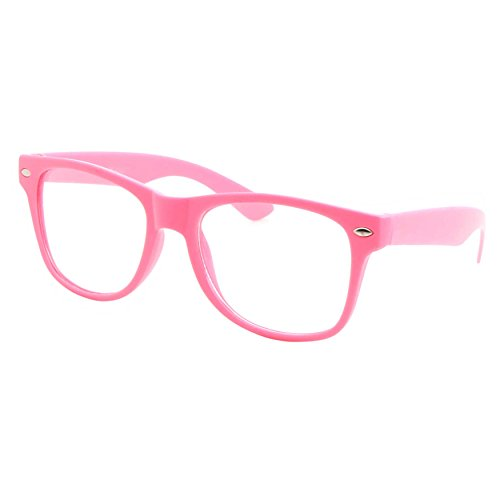 Geek Costume Girl (Kids Size Color Glasses Clear Lens Nerd Geek Costume Fake Children's (Ages 3-10), Pink)