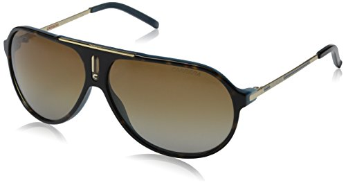 Carrera Hot/P/S Polarized Aviator Sunglasses,Havana Blue & Gold Frame/Brown Shiny Polarized Lens,One - Brown Havana Sunglasses Carrera Mens