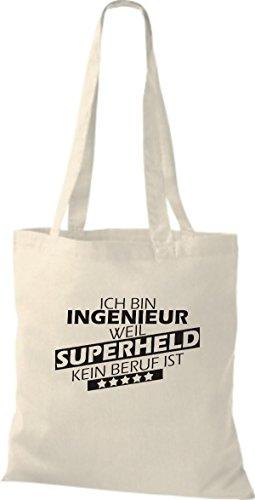 Shirtstown Stoffbeutel Ich bin Ingenieur, weil Superheld kein Beruf ist natur