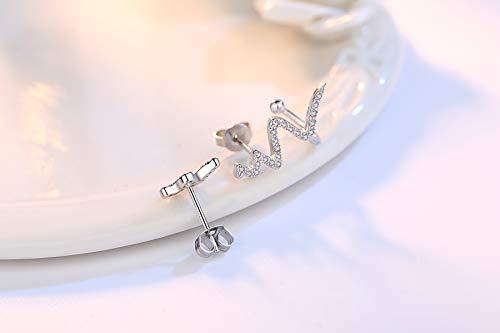 925 Sterling Silver Asymmetric Heartbeat Temperament Fashion Hypoallergenic Climbers Wrap Earring