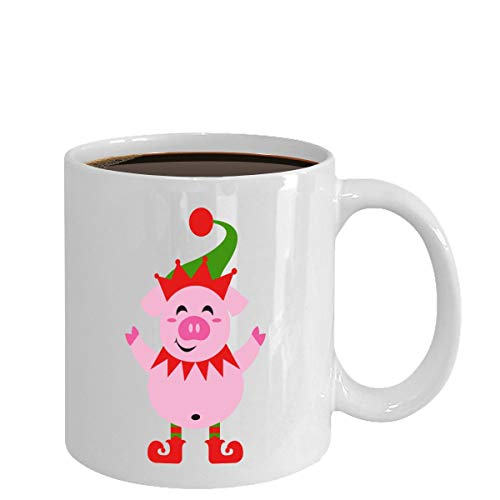 Pink Pig Elf Mug Gift Coffee Tea Cup Ideas For Animal Lovers At Christmas ()