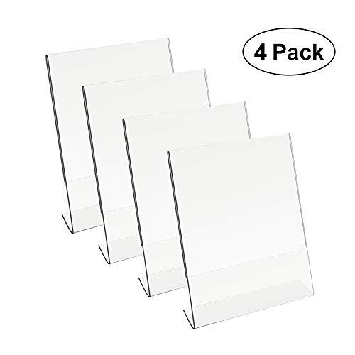 (8.5 X 11 Acrylic Sign Holder Slant Back Design Clear Table Single Sheet Portrait Ad Frames for Home, Office, Store, Restaraunt)