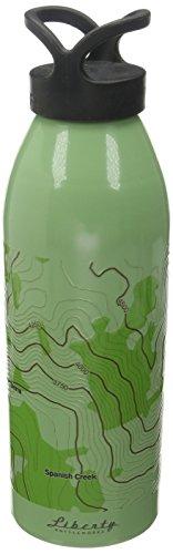 Mtn Water - Liberty Bottleworks The Sierra Mtns. Topo Aluminum Water Bottle, Made in USA, 32oz, Edamame, Standard Cap