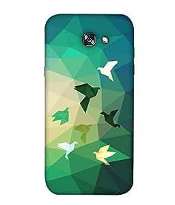 ColorKing Samsung A7 2017 Case Shell Cover - Paper birds Multi Color
