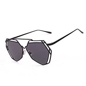 Transer Twin-Beams Geometry Design Women Metal Frame Mirror Sunglasses Cat Eye Glasses (Black)