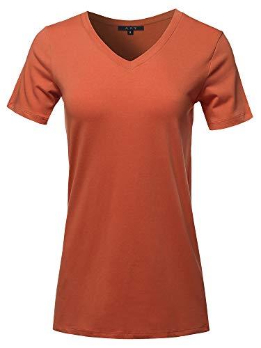 (Basic Solid Premium Cotton Short Sleeve V-Neck T Shirt Tee Tops Copper S)