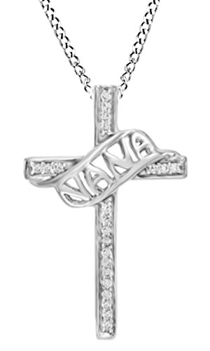 White Natural Diamond Accent  Nana  Cross Pendant Necklace In 14K White Gold Over Sterling Silver