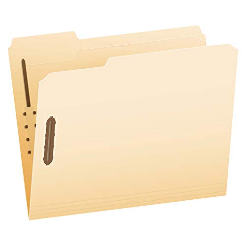 Pendaflex Fastener Folders, 2 Fasteners, Letter Size, Manila, 1/3 Cut Tabs, in Left, Right, Center Positions, 50 Per Box (FM213)