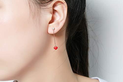 Flowetry Delicate Red Heart Pendant Necklace Heart Dangle Crystal Earrings Love Heart Jewelry Set for Women Girl by Flowetry (Image #2)
