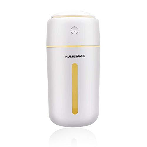 加湿器 卓上 超音波式 USB 大容量 350ml 卓上加湿器 除菌 7色LEDライト 静か 空気浄化機 持ち運び便利 オフィス 子供部屋 車載 家庭用 花粉対策に 乾燥防止 空焚き防止 (ホワイト)