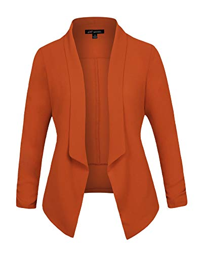 Michel Women's 3/4 Sleeve Blazer Casual Open Front Cardian Jacket Work Office Blazer Camel Small