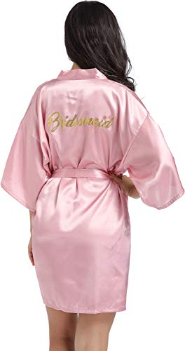 - DF-deals Women's Satin Kimono Robe for Bridesmaid and Bride Wedding Party Getting Ready Short Robe with Gold Glitter Rose Gold X-Large