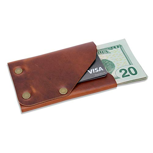 - Leather Front Pocket Minimalist Wallet - Slim, Compact, Thin Credit Card Wallet (Brown)