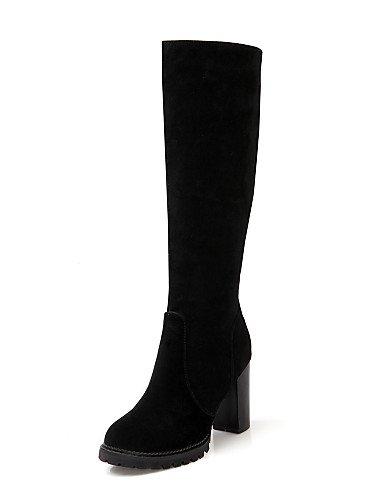 Black Uk8 A Vestido 5 Casual Robusto Mujer Punta De Zapatos Eu42 Botas La us10 Redonda Xzz Cn43 Vellón 5 Moda Tacón Negro 4H8Zwxq