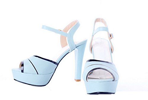 à Bleu AalarDom Femme Talon Petite Sandales Ouverture TSFLH005787 Boucle Haut qqtTwz