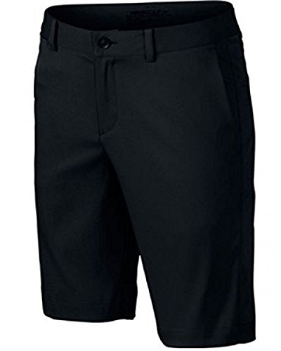 Boys Nike Flat Front Short (XL (18-20 Big Kids), Black/Black)