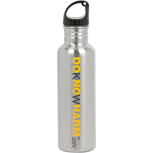 DoKnowHarm Eco-Friendly Brushed Stainless Steel Wide Mouth Sports Water Bottle Canteen - 24 oz.