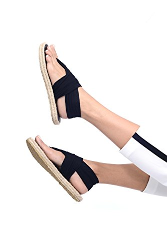 Nalho Women's Yoga Mat Memory Foam Espadrilles Sandals, Ganika Black 6 by Nalho (Image #2)