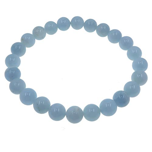 SatinCrystals Aquamarine Bracelet 7mm Boutique Soft Blue Genuine Gemstone Round Handmade Stretch B01 (7.75) (Bracelet Aquamarine Strand)