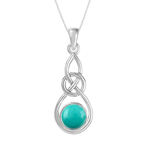 Turquoise Pendant Necklace Sterling Silver Celtic Knot Style for Women and Girls