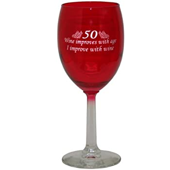 50 Age Improves Wine Glass