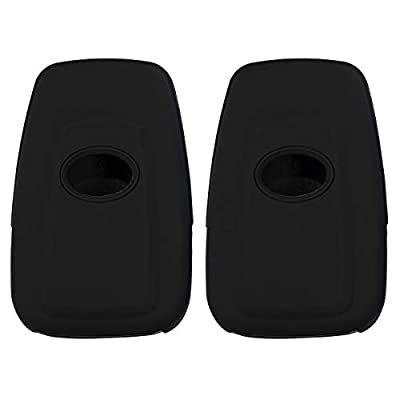 Lcyam 2Pcs Black Soft Material Silicone Key Fob Cover Case 3 Buttons Fits for Toyota Avalon Corolla Camry RAV4 Prius Smart Keyless Remote: Automotive