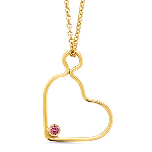 14K Gold Filled Heart Pendant Set with Round Fancy Pink Zirconia from Swarovski ()