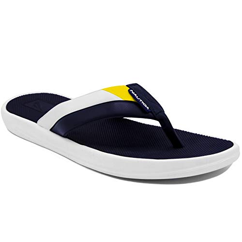 Nautica Men's Flip Flop Athletic Slide Rubber Sole Comfort Sandals-Neale-Navy/Yellow-11